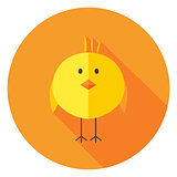 Yellow Chick Circle Icon with long Shadow