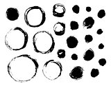 Set of isolated ink spots and circles