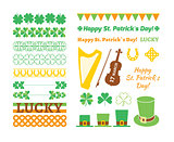 Set of Saint Patricks Day design elements. Vector illustration