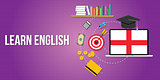 learn english concept with dictionary books