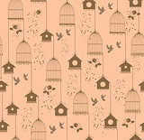 vintage bird house seamless