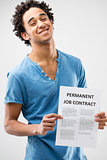 permanent job contract shown by a young man
