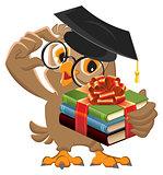 Owl teacher holding gift book. Book is best gift