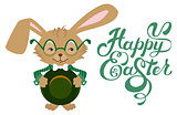 Easter bunny wearing glasses. Happy Easter text lettering. Calligraphy lettering greeting text