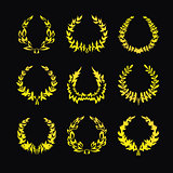 Set of gold wreaths