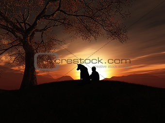 3D boy and his dog sitting at sunset