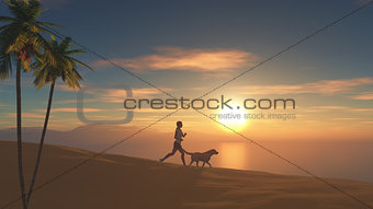 3D female jogging on beach at sunset with her dog