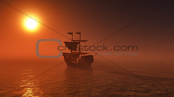 3D ship sailing on a sunset sea