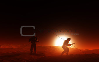 3D soldiers in desert at sunset