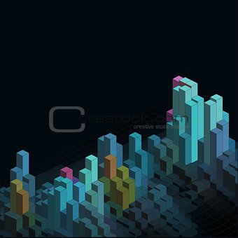 Abstract isometric blocks background