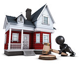 3D Morph Man with house and gavel