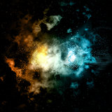 Space background with fire and ice effect