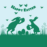 Happy easter colorful postcard background.