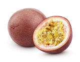 Passion fruit with cut isolated on white