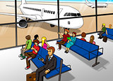 Cartoon illustration of people waiting at airport lounge