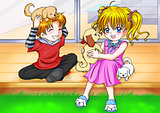 Cartoon illustration of a boy and a girl playing with three little puppies