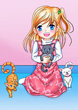 Cartoon illustration of a girl with three kittens