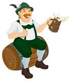 German man sits on an oak barrel and holding wooden beer mug. Bavarian fat man celebrating oktoberfest