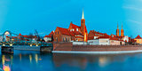 Night panorama of Tumski Bridge, Wroclaw, Poland