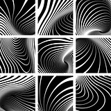 Illusion of whirl movement. Lines patterns set.