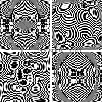 Abstract op art patterns.