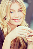 Instagram Style Beautiful Blond Woman Drinking Coffee