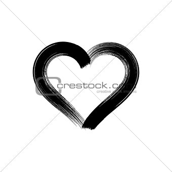 Black vector brush strokes heart