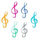 Treble clefs brush strokes design