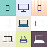 Vector digital device icons collection