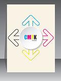 Cmyk brochure with color arrow lines and white 3d circle