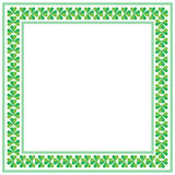 St Patricks Day square frame with shamrock on white background