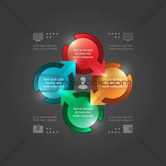 Business Infographics Design Template. Vector Elements. 3D Circle Chart Illustration