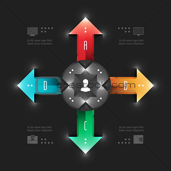 Business Infographics Design Template. Vector Elements. Management Workflow Arrows Illustration