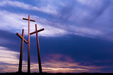Three crosses over bright dramatic sky