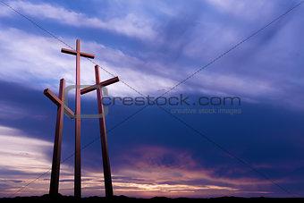 Three crosses over bright dramatic sky