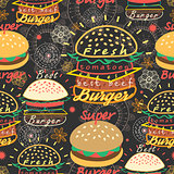 pattern bright tasty burgers