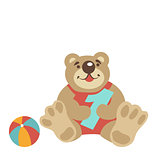 Teddy bear sitting with numeral one, ball