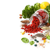 Various superfoods on white background