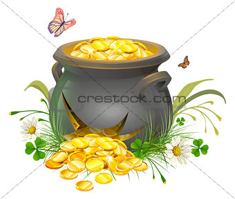 Pot with gold split. Cracked pot of treasure. Cauldron of gold on grass
