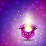 Gift box. Valentines Day. Heart, glow, stars