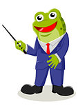 Cartoon illustration of a frog with pointer stick