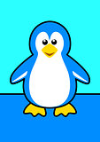 Vector illustration of a cartoon penguin on blue background