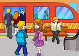 Cartoon illustration of two kids at the subway station