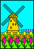 Vector illustration of a windmill among tulips