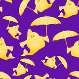 Yellow fish with umbrella. The dark background