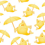 Yellow fish with umbrella