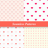 Seamless simple patterns with hearts