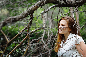 Amazing Portrait of Beautiful Woman in Forest