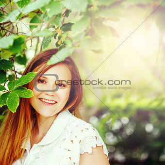 Beautiful Red Hair Woman smiling