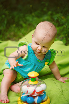Adorable Toddler Baby Girl playing